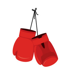 hanging red boxing gloves accessory for boxer vector image vector image