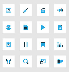 music colorful icons set collection of equalizer vector image vector image