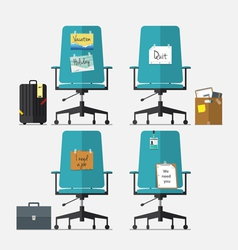 Set of office chair in flat design vector image