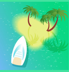 Square with boat beach and palm tree vector