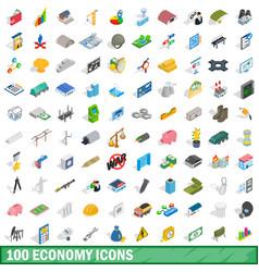 100 economy icons set isometric 3d style vector image