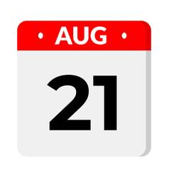 21 august calendar icon vector