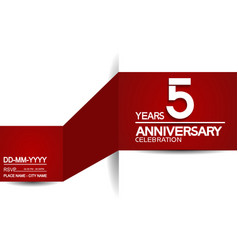 5 years anniversary design with red and white vector
