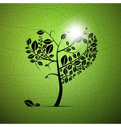 Abstract Heart-Shaped Tree on Green Background vector image