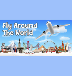 airplane flying and travel around world banner vector image
