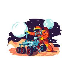 Astronaut in costume fix machine vector