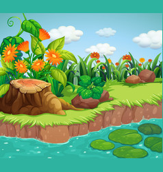 Background scene with nature theme vector