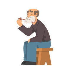 bearded grandpa sitting on bench and smoking pipe vector image