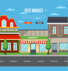 Best market banner in flat design vector