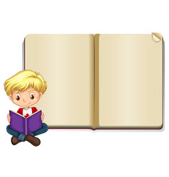 Blank book template with boy reading vector