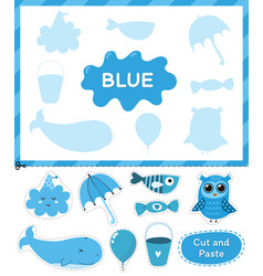 Blue color cut elements and match them with vector