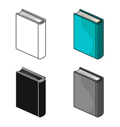 Blue standing book icon in cartoon style isolated vector