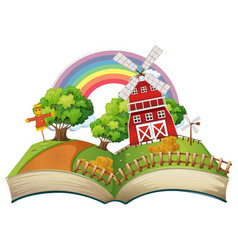 book with farm scene at day time vector image