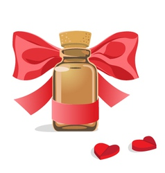 bottle of pills hearts vector image