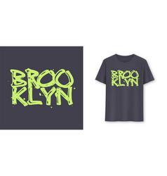 brooklyn stylish brush lettering t-shirt vector image