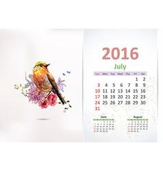 Calendar for 2016 july vector image