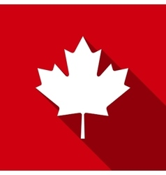 Canadian maple leaf flat icon with long shadow vector