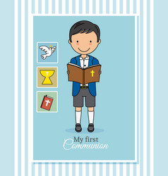 Card my first communion boy vector