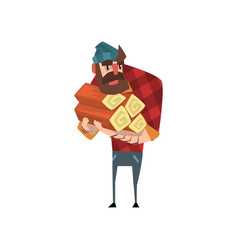 Cartoon man character holding stack of logs funny vector