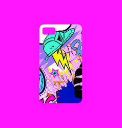 Case on the phone with bright picture phone cover vector