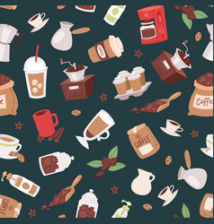coffee set seamless pattern vector image
