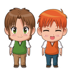 Colorful full body couple cute anime tennager vector