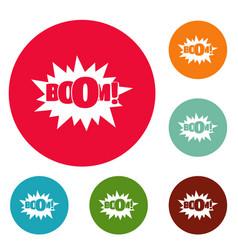 Comic boom big icons circle set vector