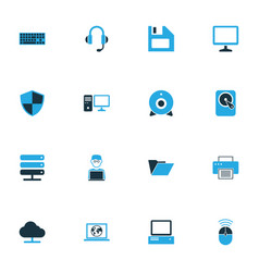 Computer colorful icons set collection of control vector