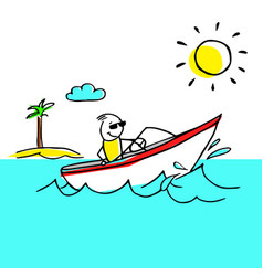 Cool vacation with a man having rest on a boat vector