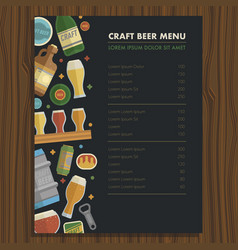 Craft beer menu template for bar and restaraunt vector