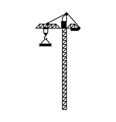 Crane with load lift equipment building vector