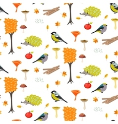 Cute cartoon forest seamless pattern with birds vector image