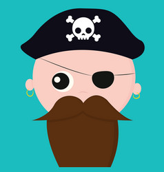 Cute face a pirate with earrings over blue vector
