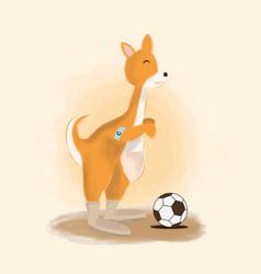 Cute kangaroo plays soccer vector