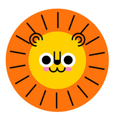 cute lion face funny lion cartoon animal vector image