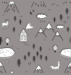 cute scandinavian landscape with animals trees vector image