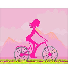 Cycling Poster with silhouette Girl vector image