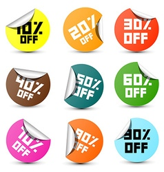 Discount Circle Colorful 10 off 20 off 30 off vector image