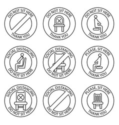 Do not sit signs forbidden icons for seat safe vector