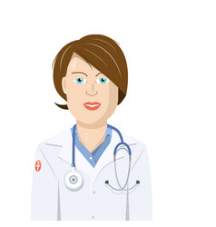 doctor woman flat design isolated cartoon vector image