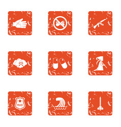 Document check icons set grunge style vector