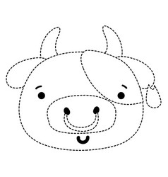 Dotted shape happy cow head wild animal vector