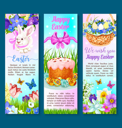Easter paschal cake eggs flowers banners vector
