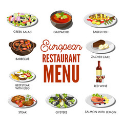 european restaurant menu with popular delicious vector image