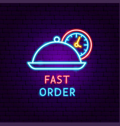 fast order neon label vector image