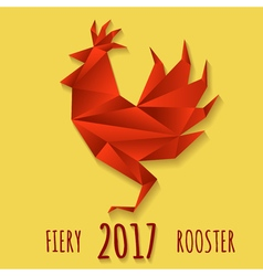 Fiery Rooster in Paper origami style vector image