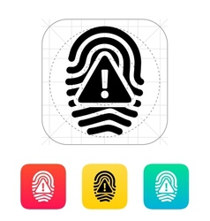 Fingerprint scan error icon vector image
