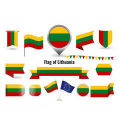 flag lithuania big set icons and vector image