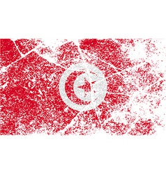 Flag of Tunisia with old texture vector image