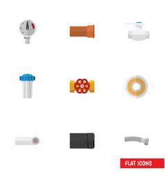flat icon plumbing set of water filter drain vector image